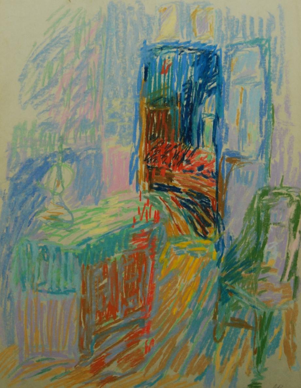 Be pavadinimo, 1991, pop., pastelė, 63x49cm
