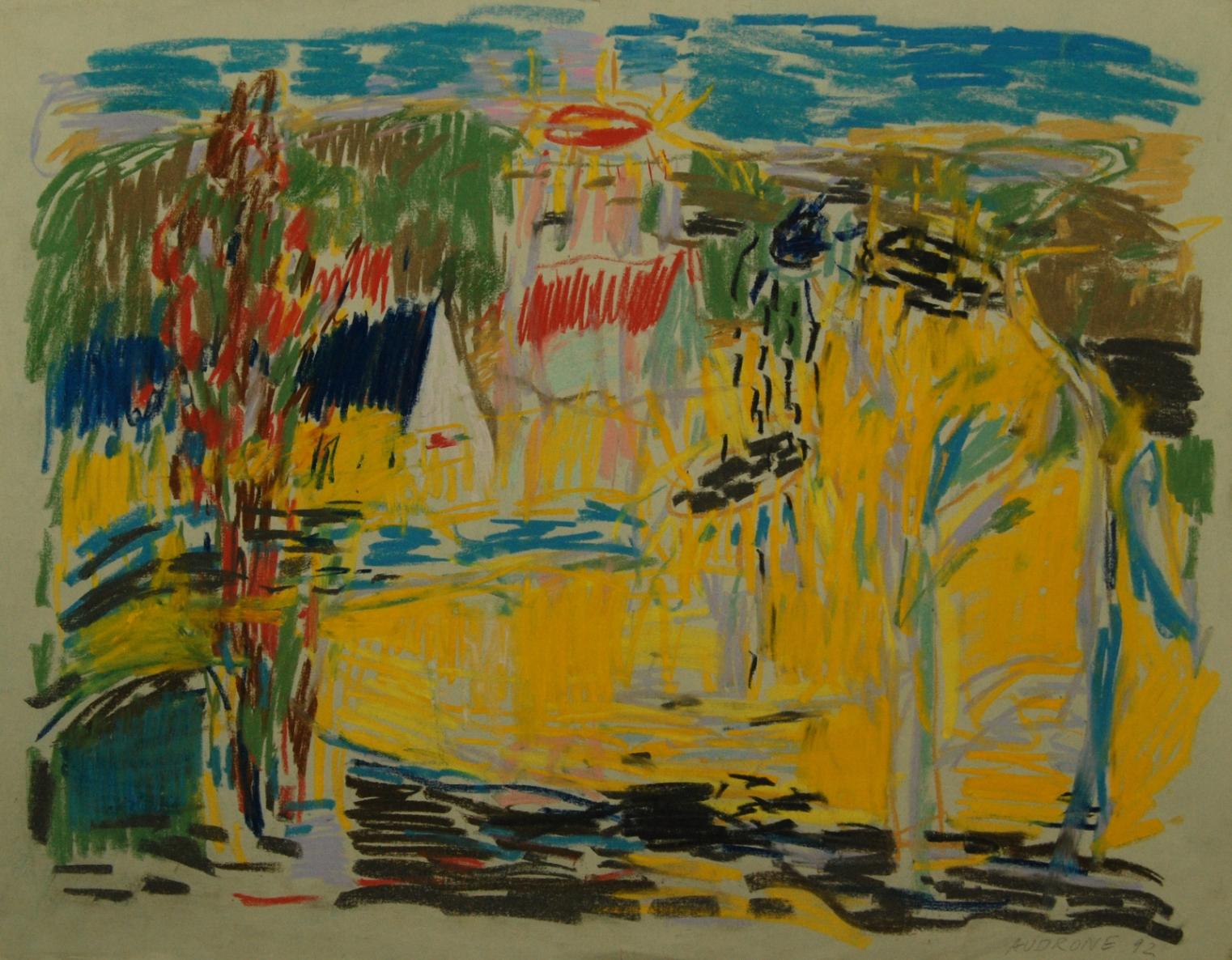 Be pavadinimo, 1992, popierius, pastelė, 49x62cm