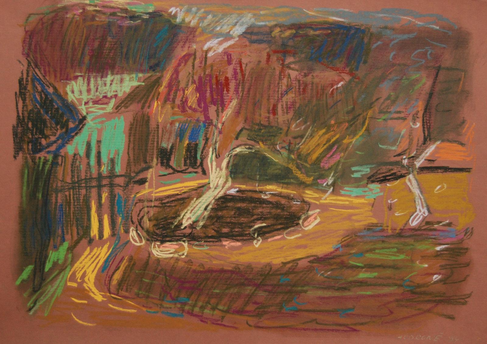 Be pavadinimo, 1994, popierius, pastelė, 45x64cm