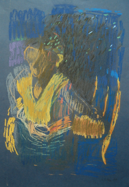 Be pavadinimo, 1998, popierius, pastelė, 72x50cm