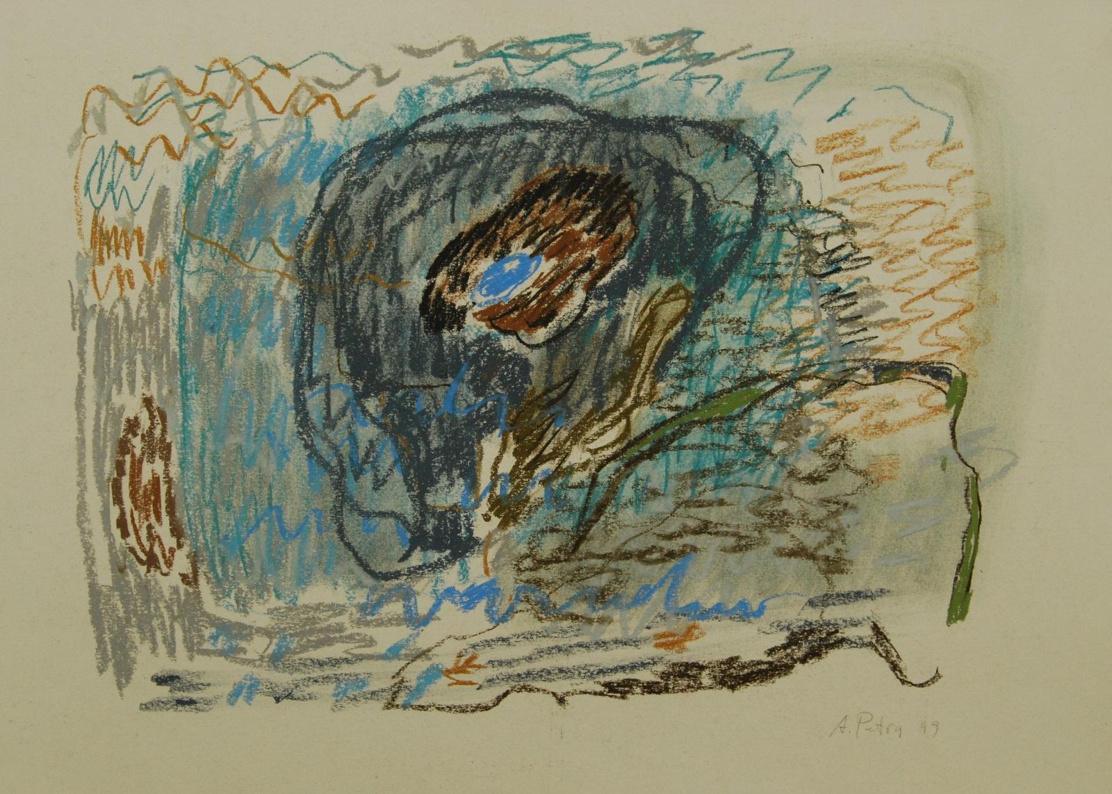 Be pavadinimo, 1999, popierius, pastelė, 45x64cm