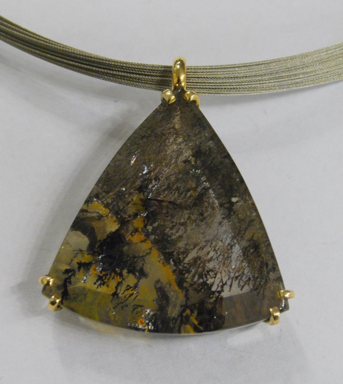 Kaklo papuošalas, Au 585, 12,51g, dendritinis kvarcas