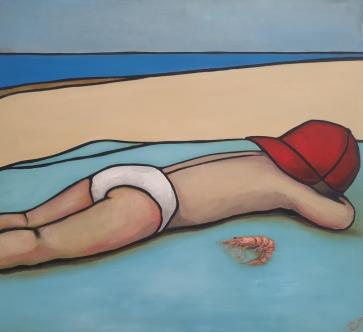 Berniukas ir krevetė, 2021, drobė, aliejus, 100x110cm