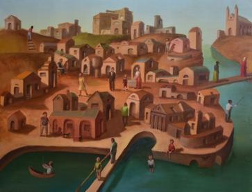 Vaikystės miestas, 2004, drobė, aliejus, 100x130cm